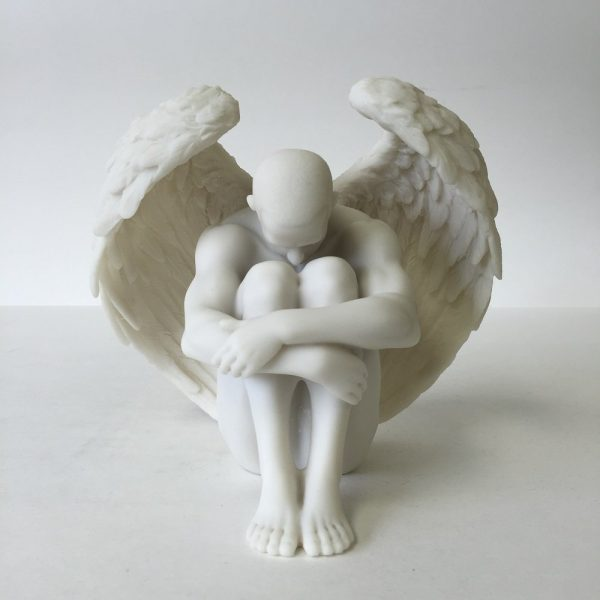Male Angel Holding Knees: Angels can bring peace and solitude, just by being. This male angel can sit atop dressers and mantelpieces for a more harmonious home.