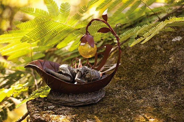 Small Dreamer Garden Fairy: Inspired by the famous Thumbelina, this small dreaming fairy in a leaf can be illuminated with a solar-powered leaf light. Place her on a flat rock surface amongst plant life to give her shelter.