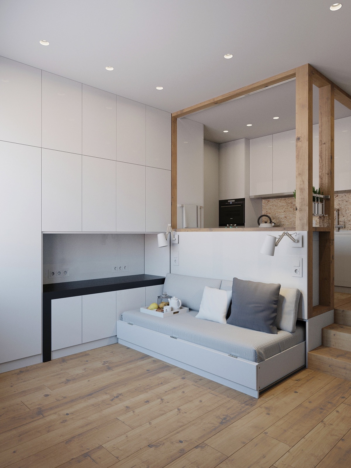 Storage friendly TV cabinet box design living area and kitchen