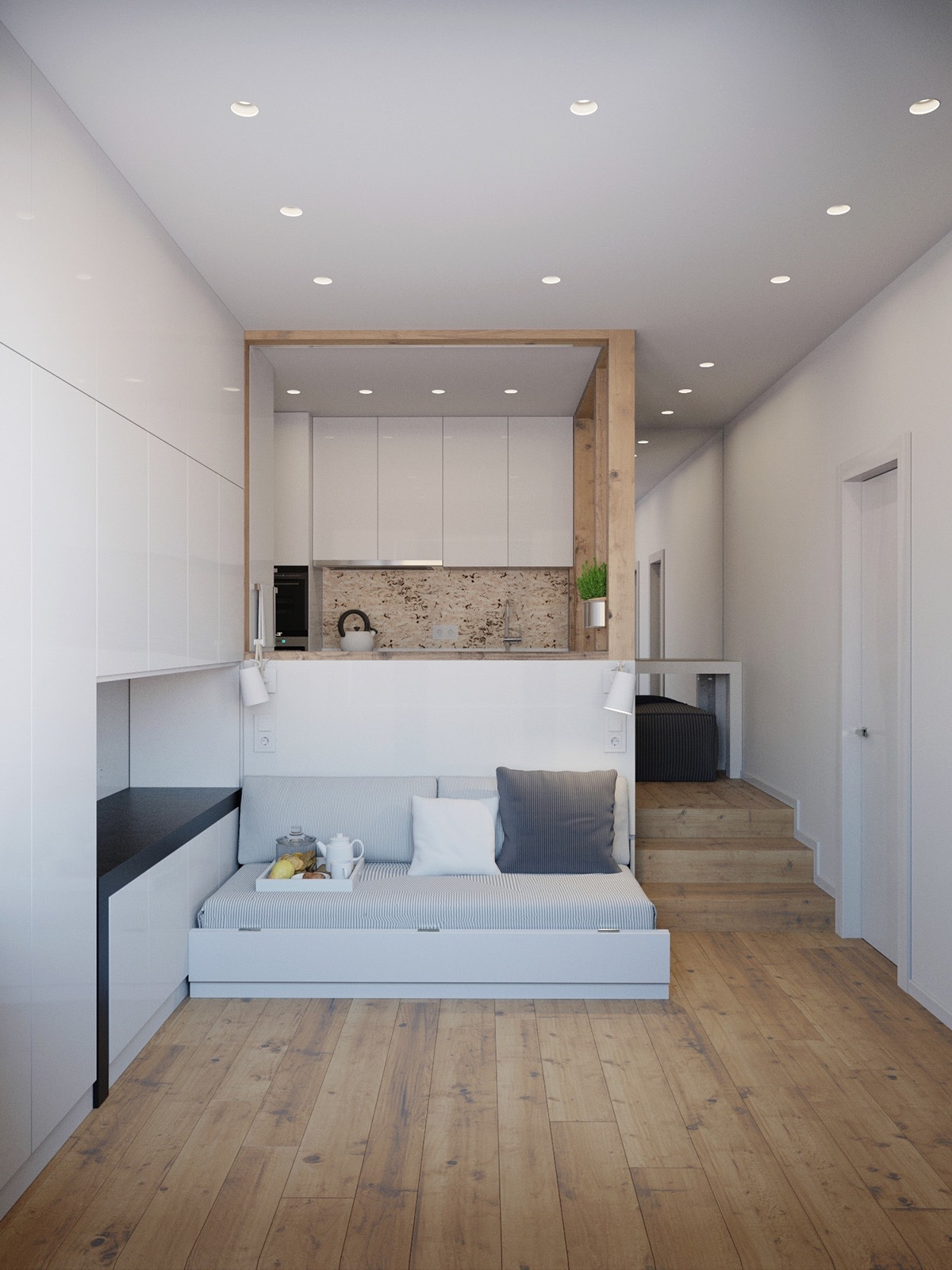Our final living space, coming in at 25sqm, is a truly innovative use of space. White-walled interiors showcase a kitchen and living space, with the kitchen bench an additional backing for the lounge. Corked kitchen tiling draws the eye.