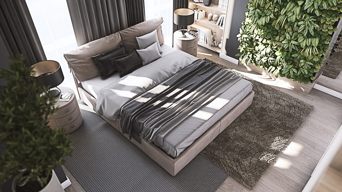 top-down-view-living-wall-bedroom-cylindrical-bedside-table-lights