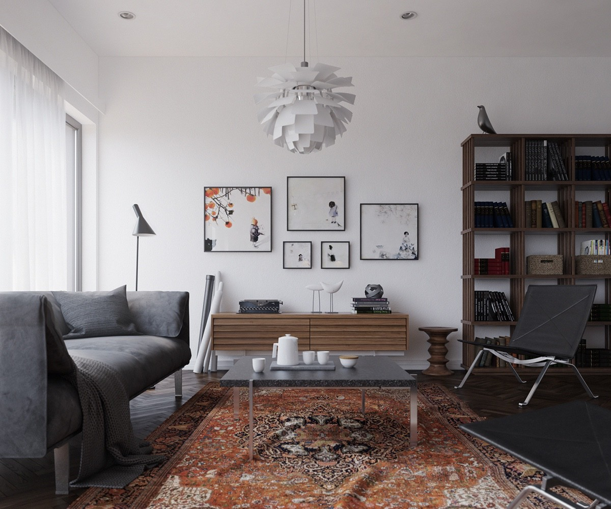 A multicultural apartment can also use a Scandinavian influence. Our last apartment's lounge, decorated with a Persian rug, papier mache light and Japanese prints, lets simple white walls and wooden fixtures ground its eclecticism. Simple black standing lamps and chairs keep it modern.