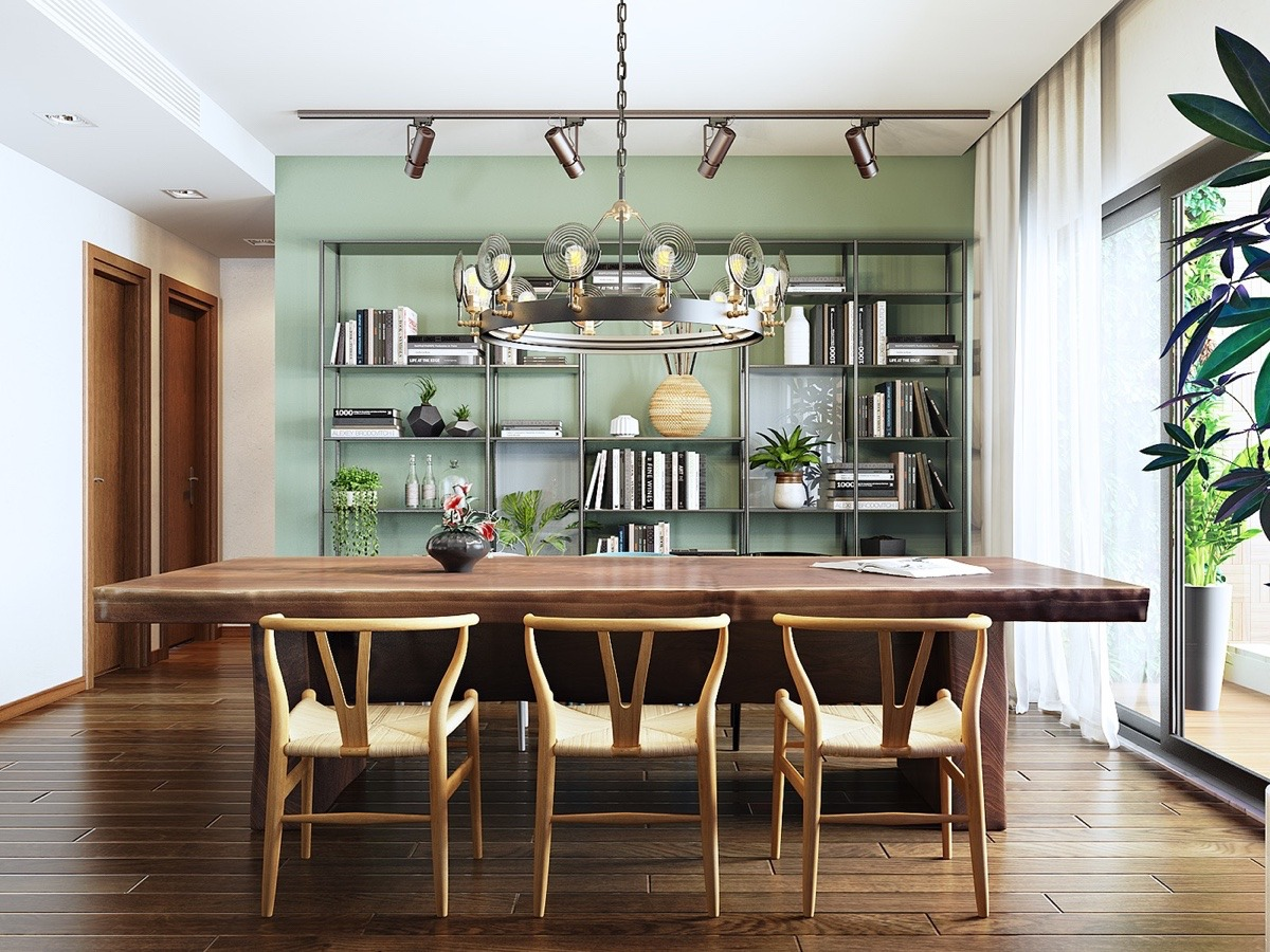 Unique Scandinavian dining area teal feature wall metal bookcase wooden floor and table