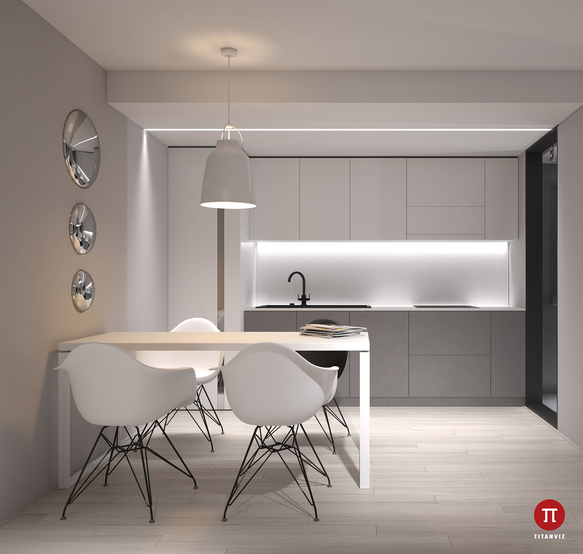 white-and-grey-kitchen-simplistic-dining-area-school-chairs