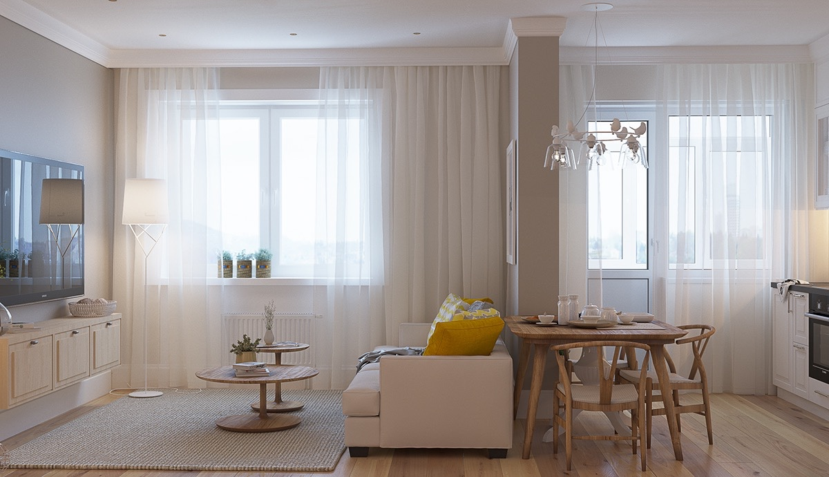 white-chiffon-curtains-light-wooden-furniture-airy-and-light-living-room
