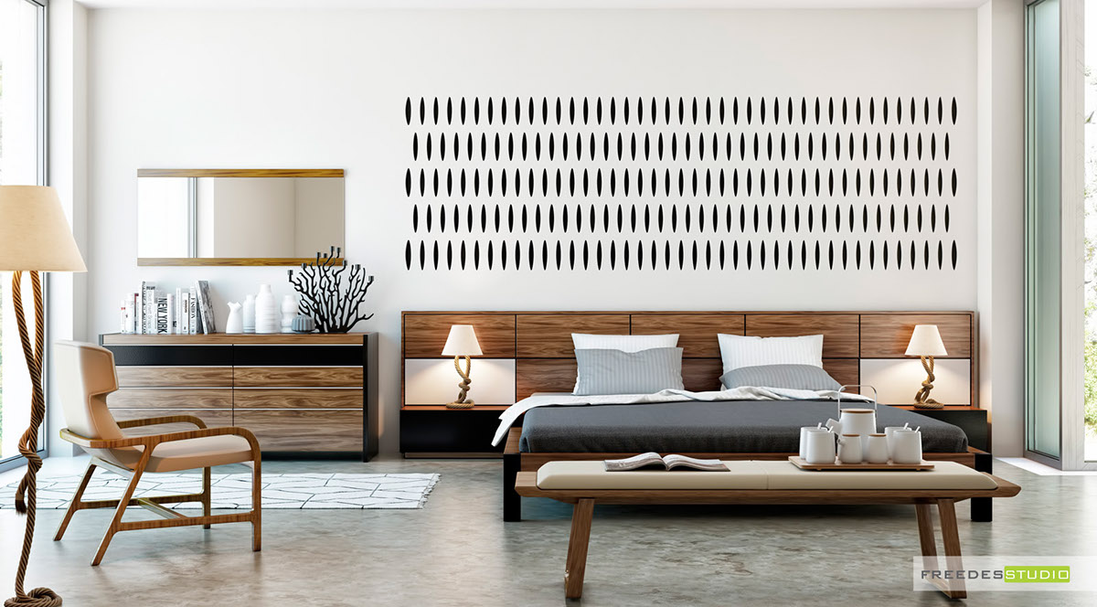 Wood can feature as well as background. Wooden headboards, chairs, ottomans and dressing tables ground the distinctive wall motifs in this unisex bedroom.
