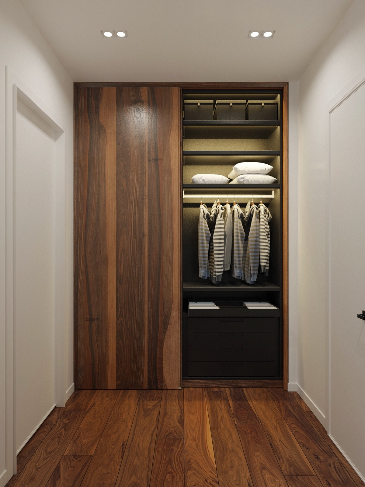 Wooden panelled wardrobe spacious and elegant