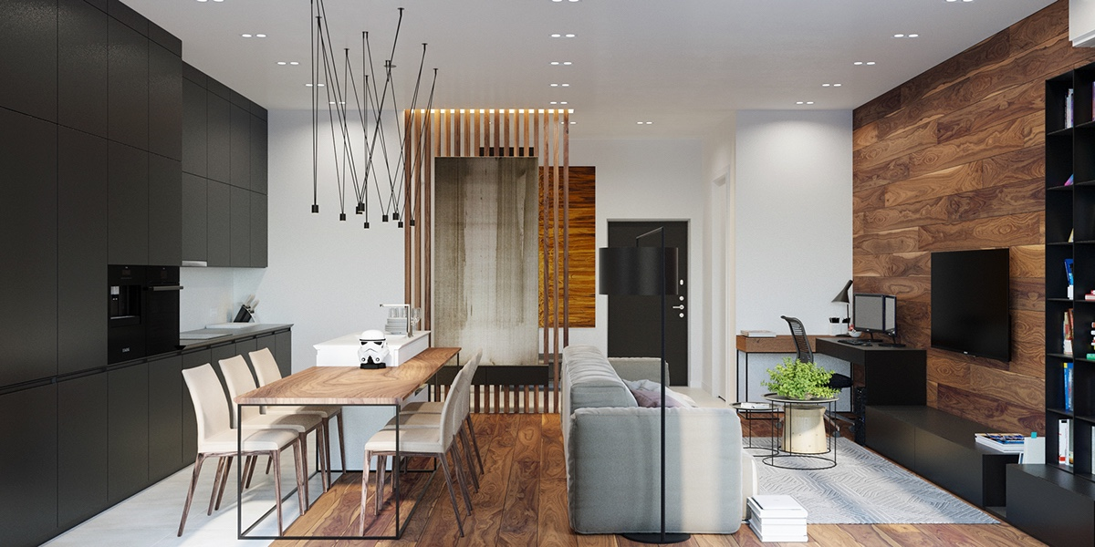 Wooden slatted partitions magnetised hanging lights modern and stylish