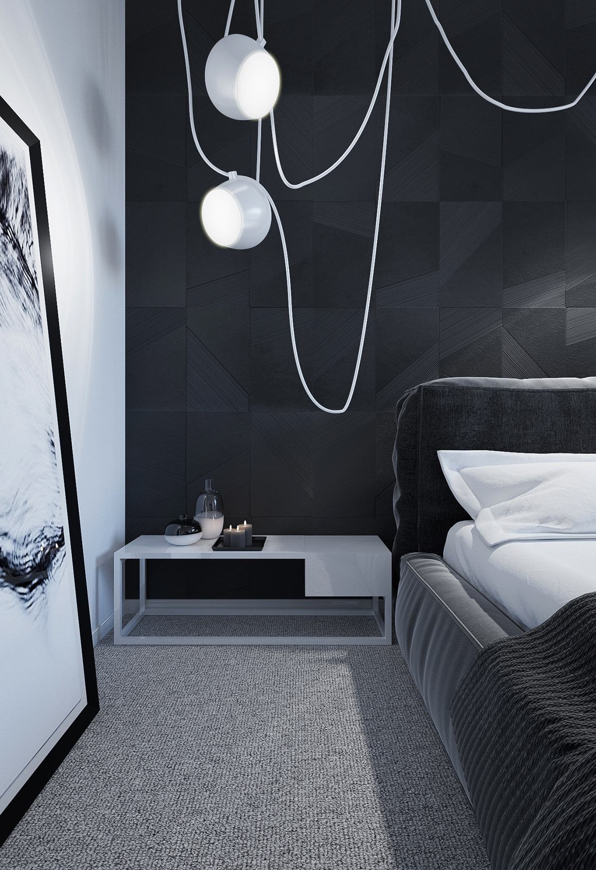 dark bedroom How to Bring Inspiration Into Your Dreams With Dark Bedroom aim pendant lamp on black background