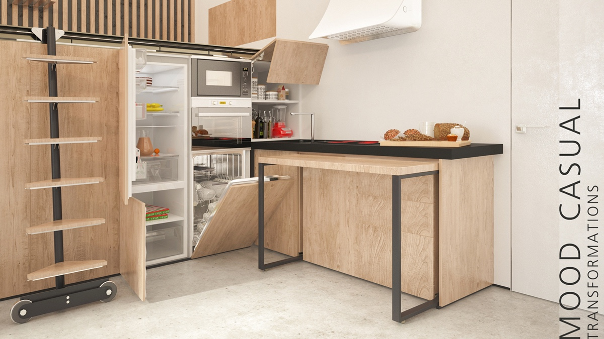 2 super tiny home designs under 30 square meters includes Studio apartment kitchen
