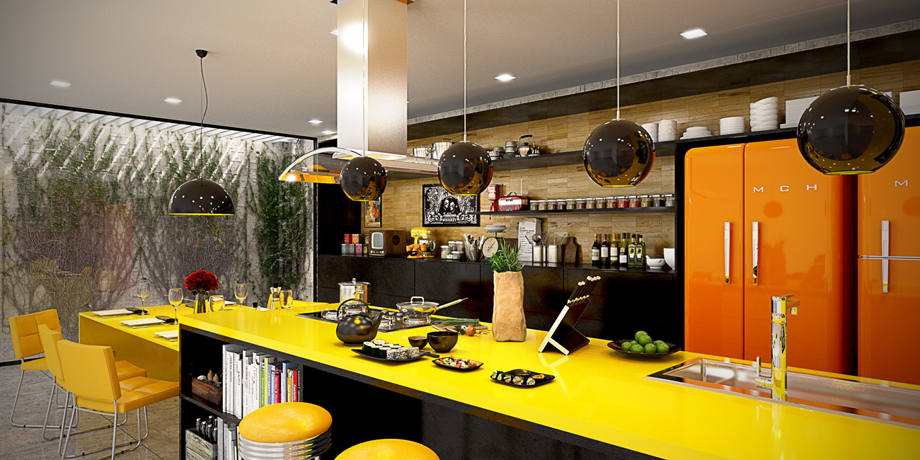 Bright Yellow And Orange Kitchen - 22 yellow accent kitchens that really shine