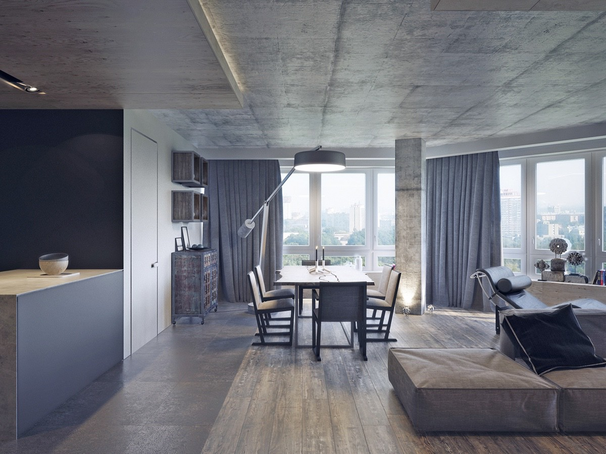 Concrete And Wood Living Room - 4 dark living rooms with strong personality