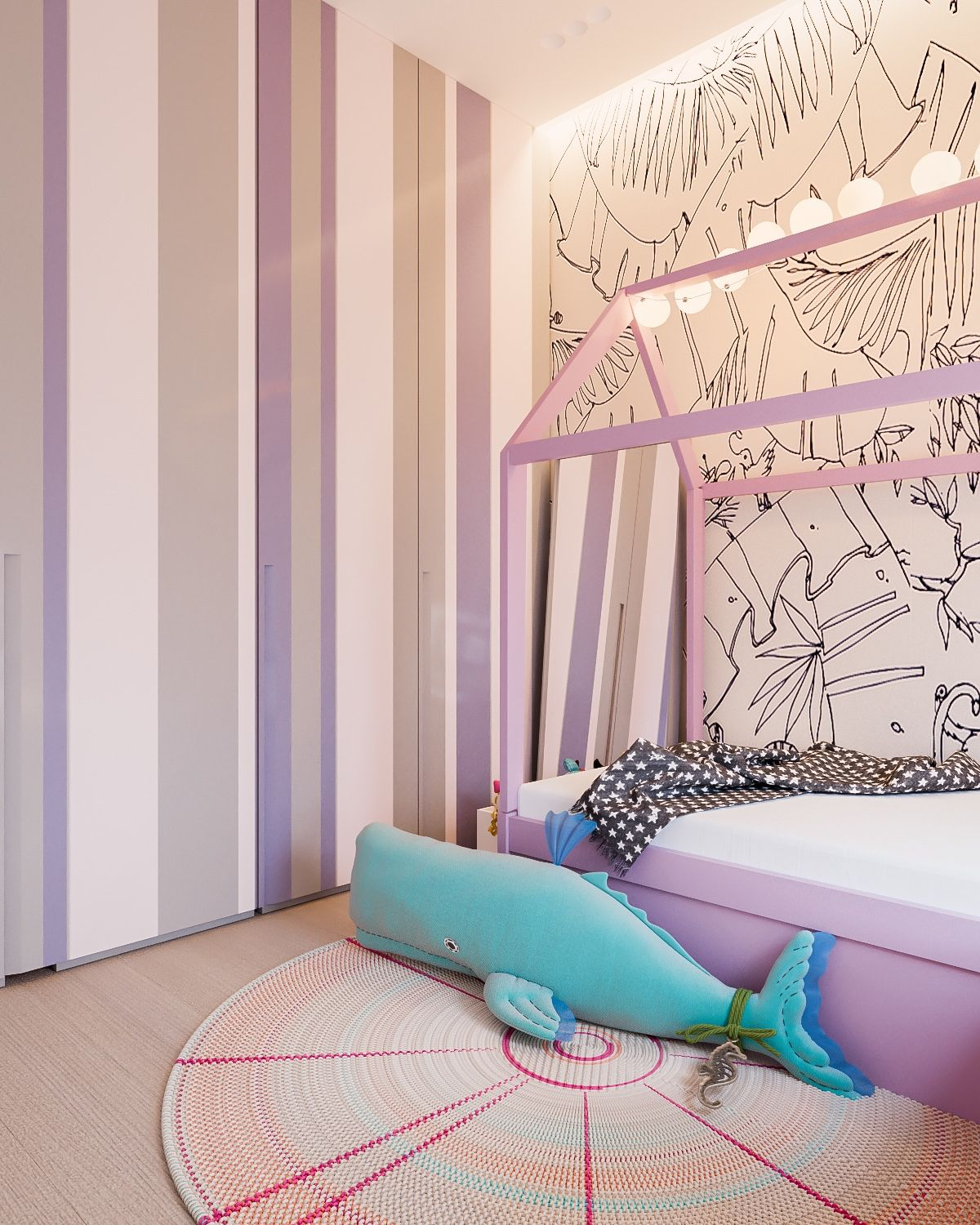 Cute Pink And Lavender Kids Bedroom - A minimalist family home with a bright bedroom for the kids