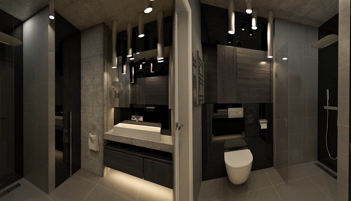 Dark Bathroom Decor - 4 dark living rooms with strong personality