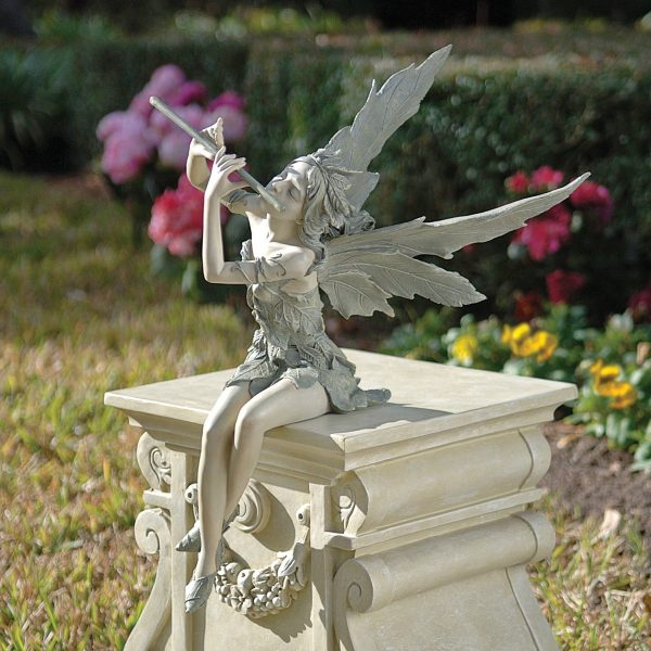 Garden Fairy With Flute Statue: For something more heraldic, this garden fairy's flute has the answer. Secure her and her plinth on a flat lawn surface with plenty of space, so she can summon the heavens.