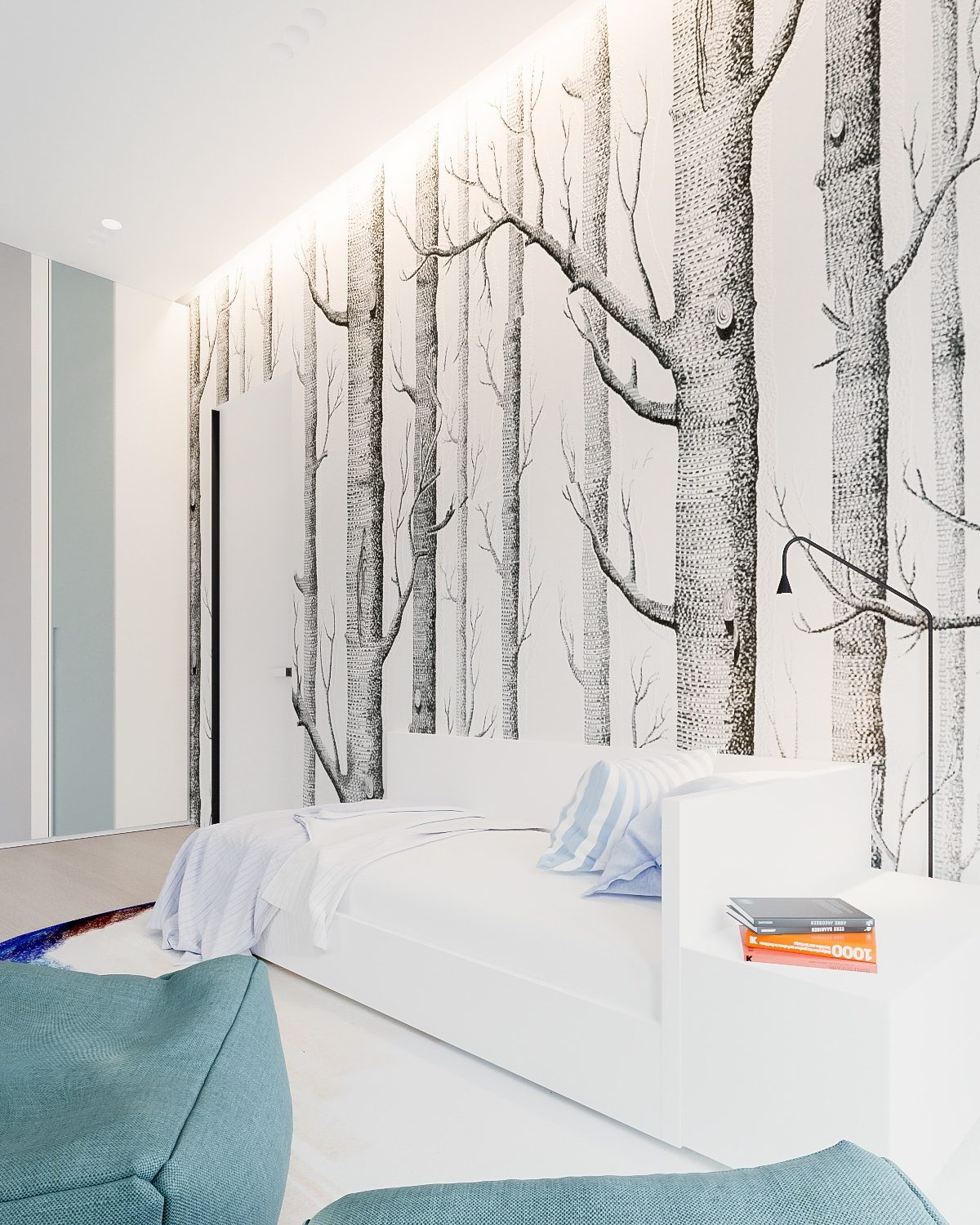 Forest Wallpaper In Home Office - A minimalist family home with a bright bedroom for the kids