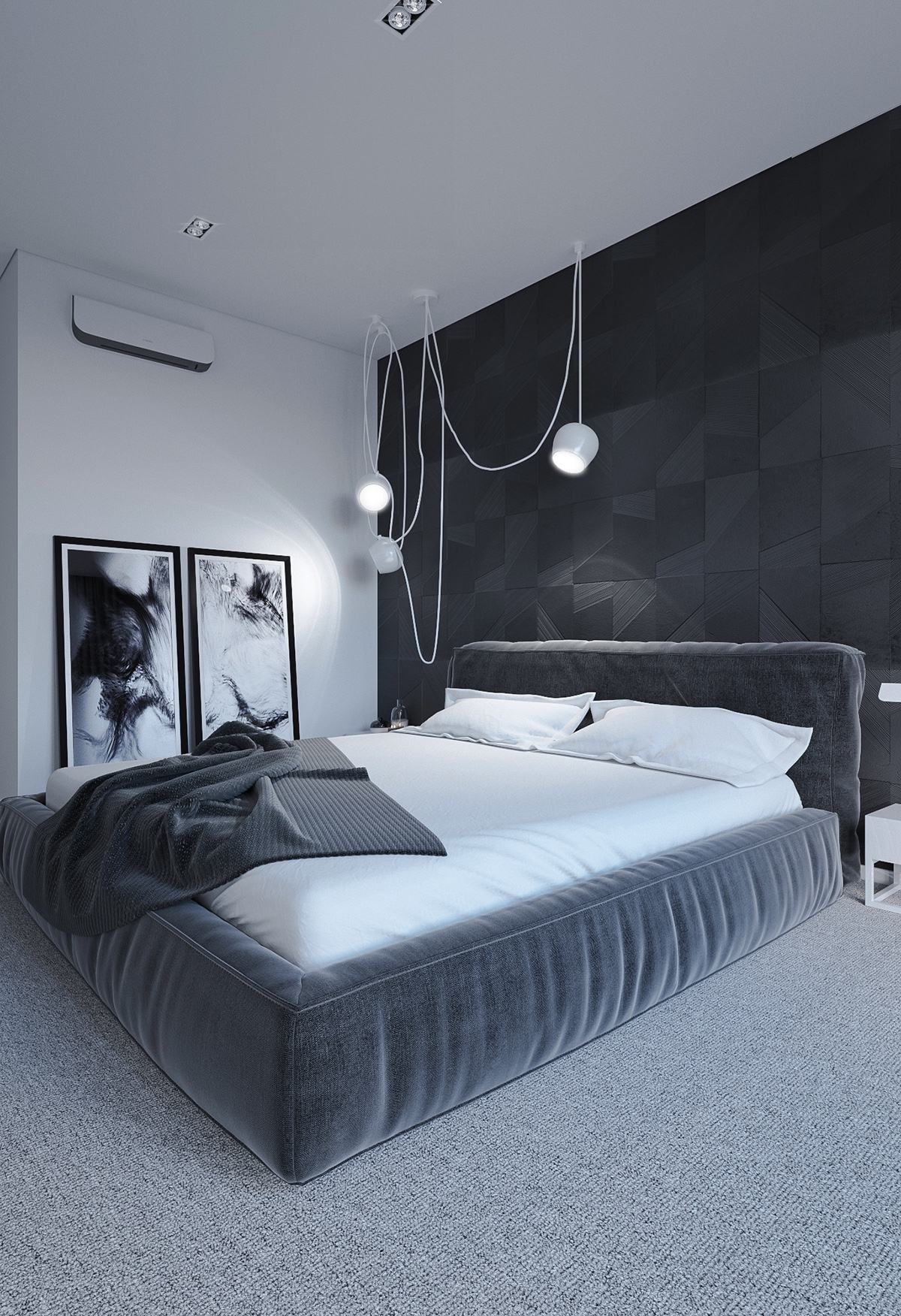 6 dark bedrooms designs to inspire sweet dreams for Minimalist black and white bedroom