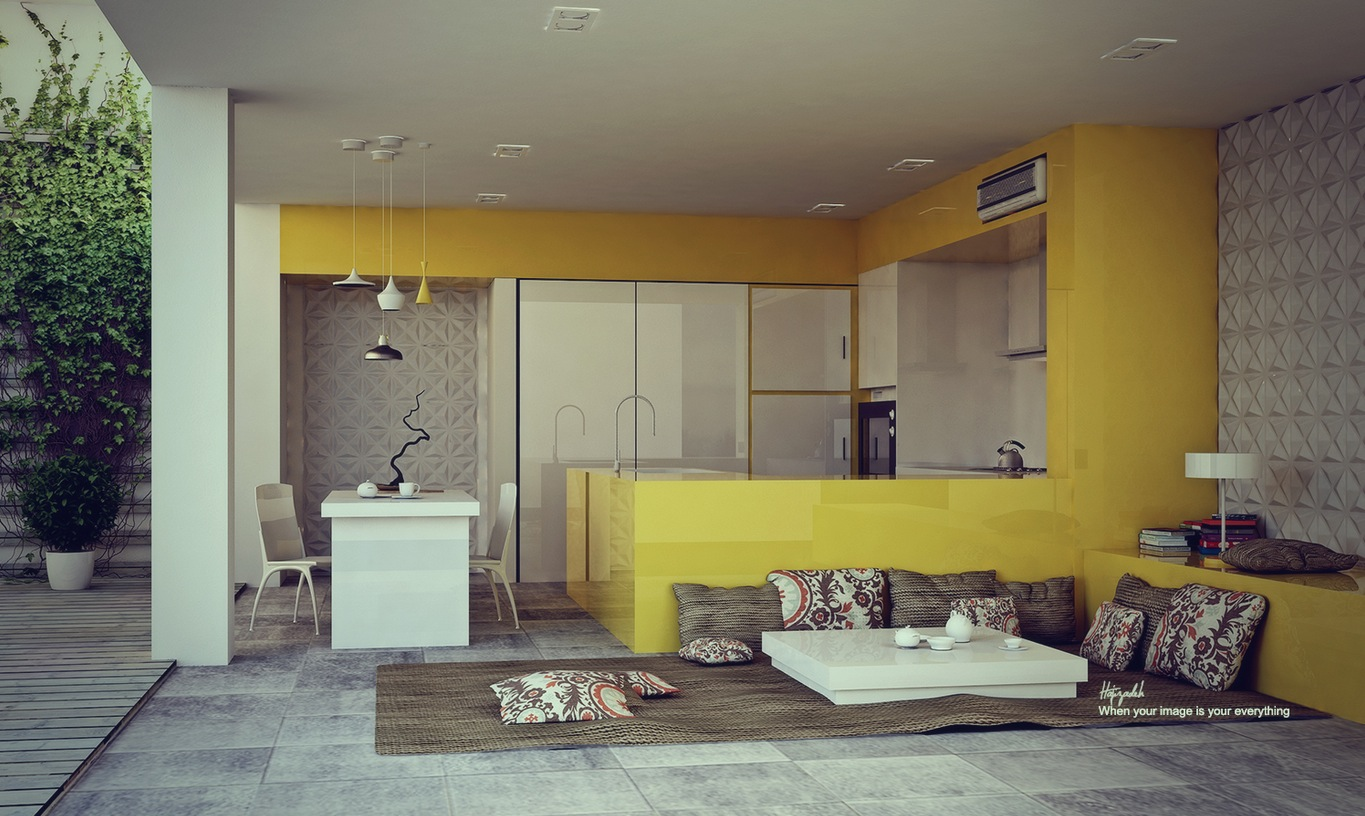 Glossy Yellow Kitchen - 22 yellow accent kitchens that really shine
