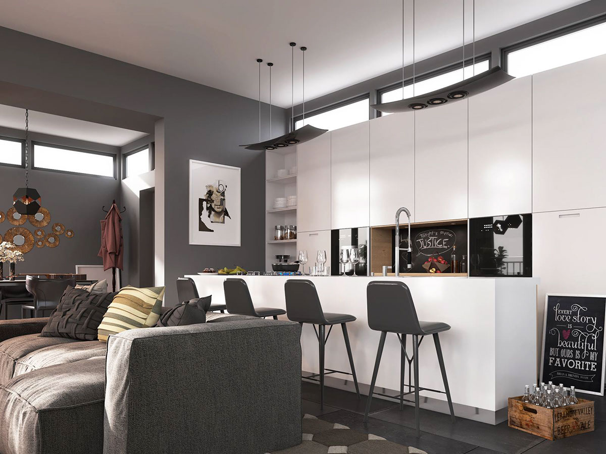 Grey And White Open Plan Layout - 4 dark living rooms with strong personality
