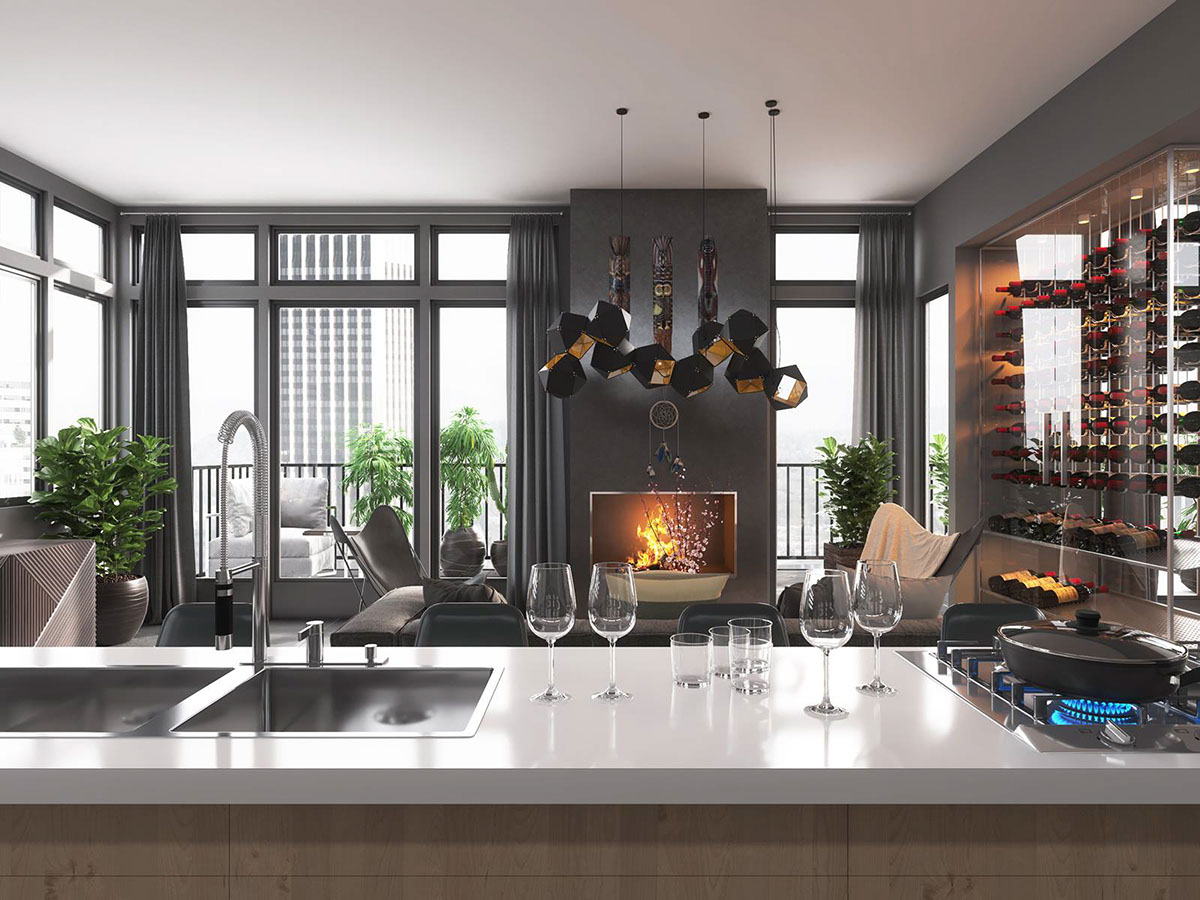 Grey White And Brown Interior Decor - 4 dark living rooms with strong personality