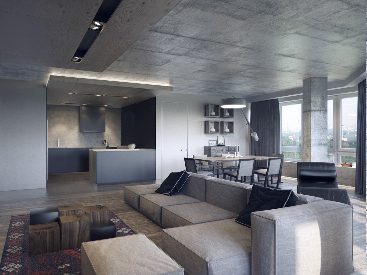 Industrial Interior With Dark Accents - 4 dark living rooms with strong personality