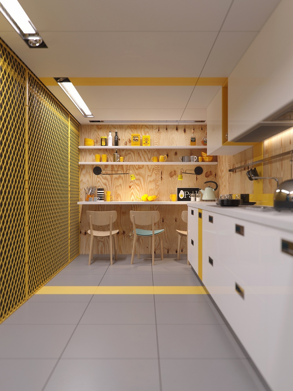 Industrial Yellow Kitchen Design - 22 yellow accent kitchens that really shine