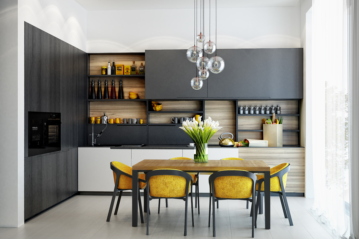 Kitchen Color Theme For Open Shelves - 22 yellow accent kitchens that really shine