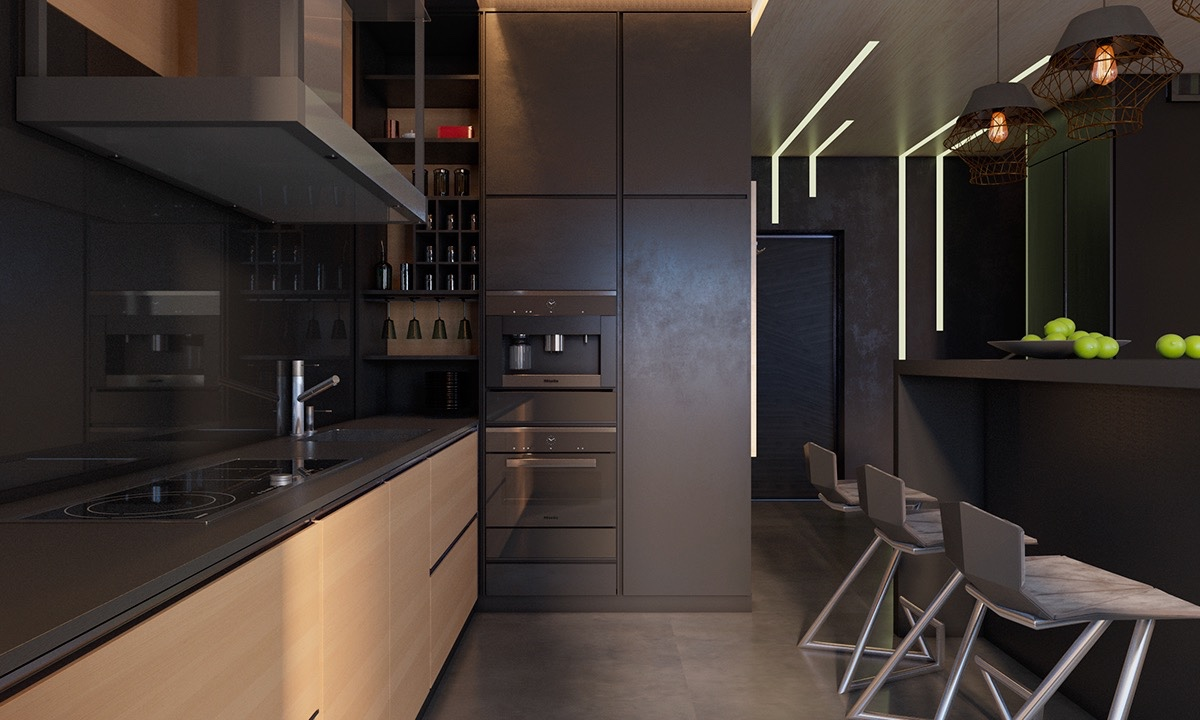 Kitchen Decorated With Dark Materials - 4 dark living rooms with strong personality