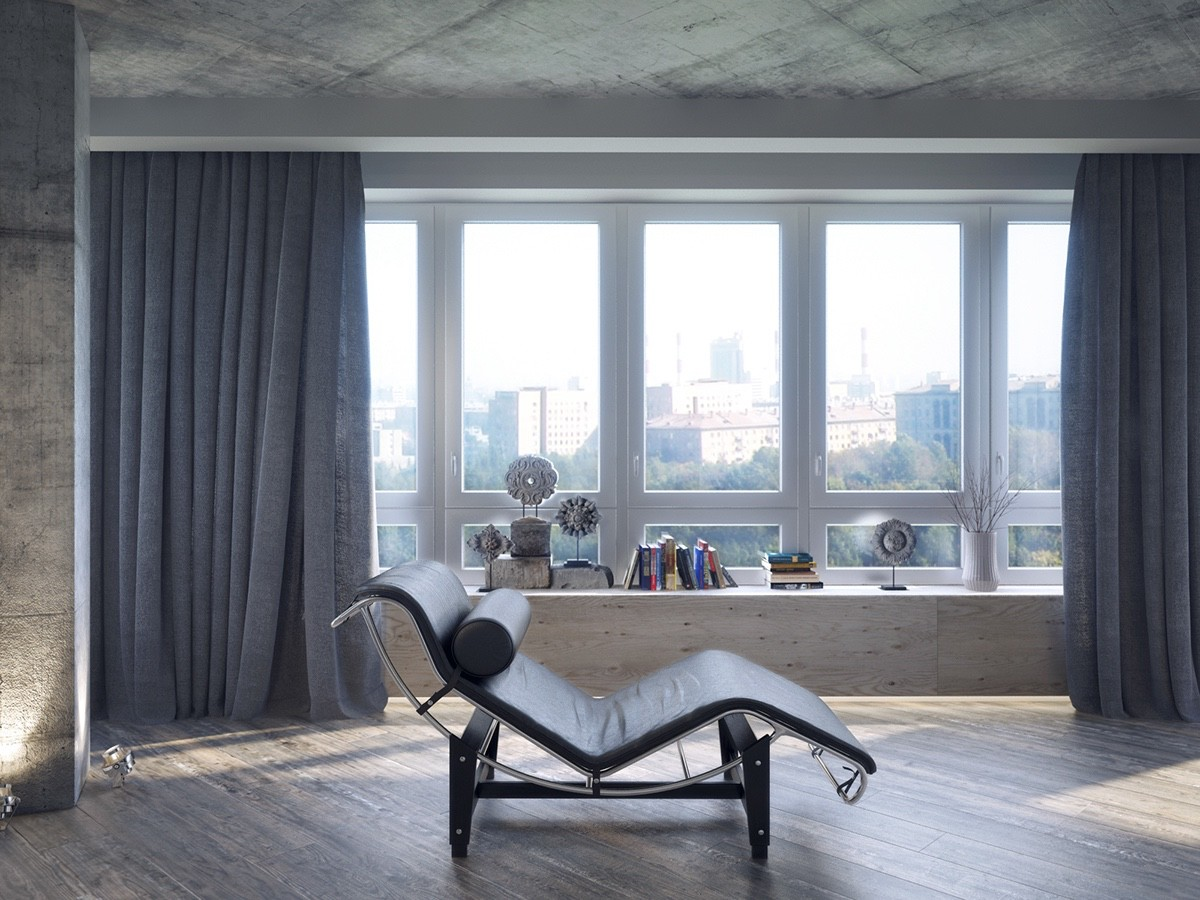 Le Corbusier Chaise Lounge - 4 dark living rooms with strong personality