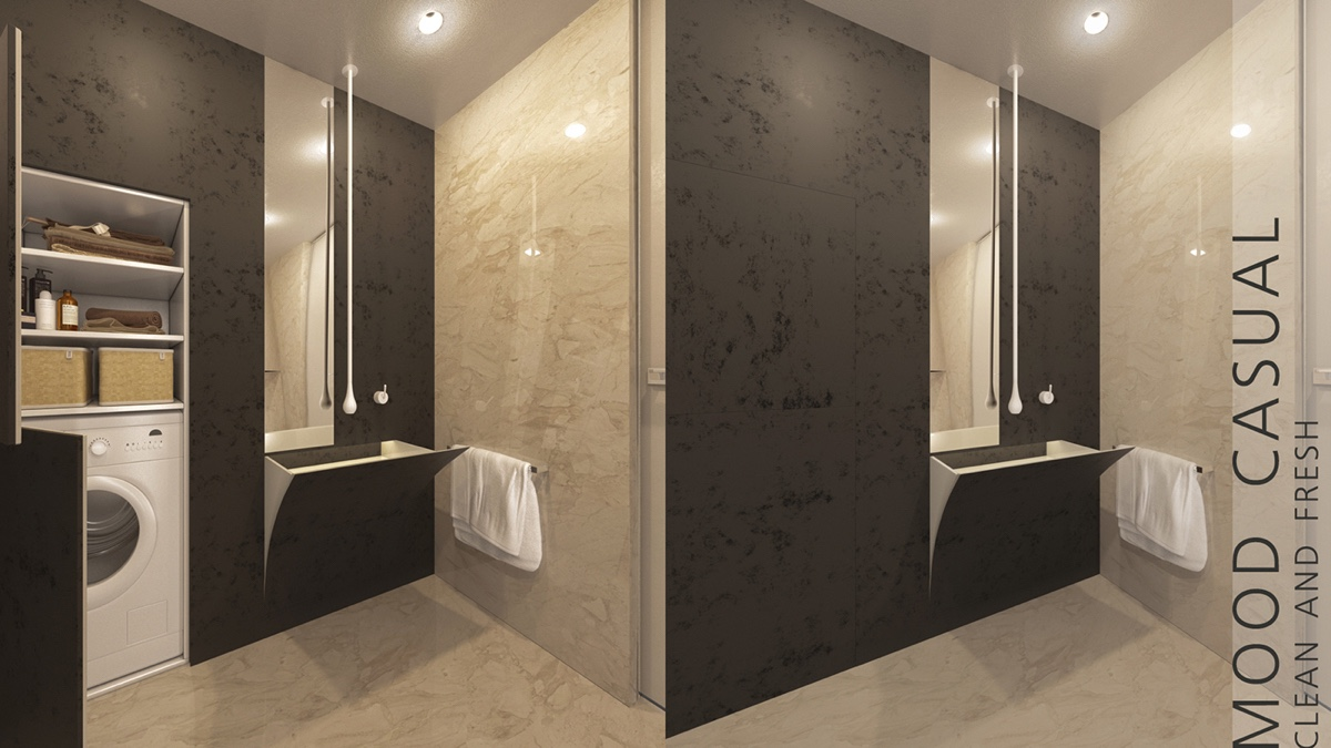 Minimalist Bathroom With Bold Materials - 2 super tiny home designs under 30 square meters includes floor plans