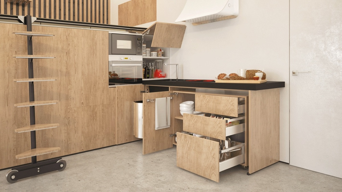 Pull Out Kitchen In Small Studio Apartment - 2 super tiny home designs under 30 square meters includes floor plans