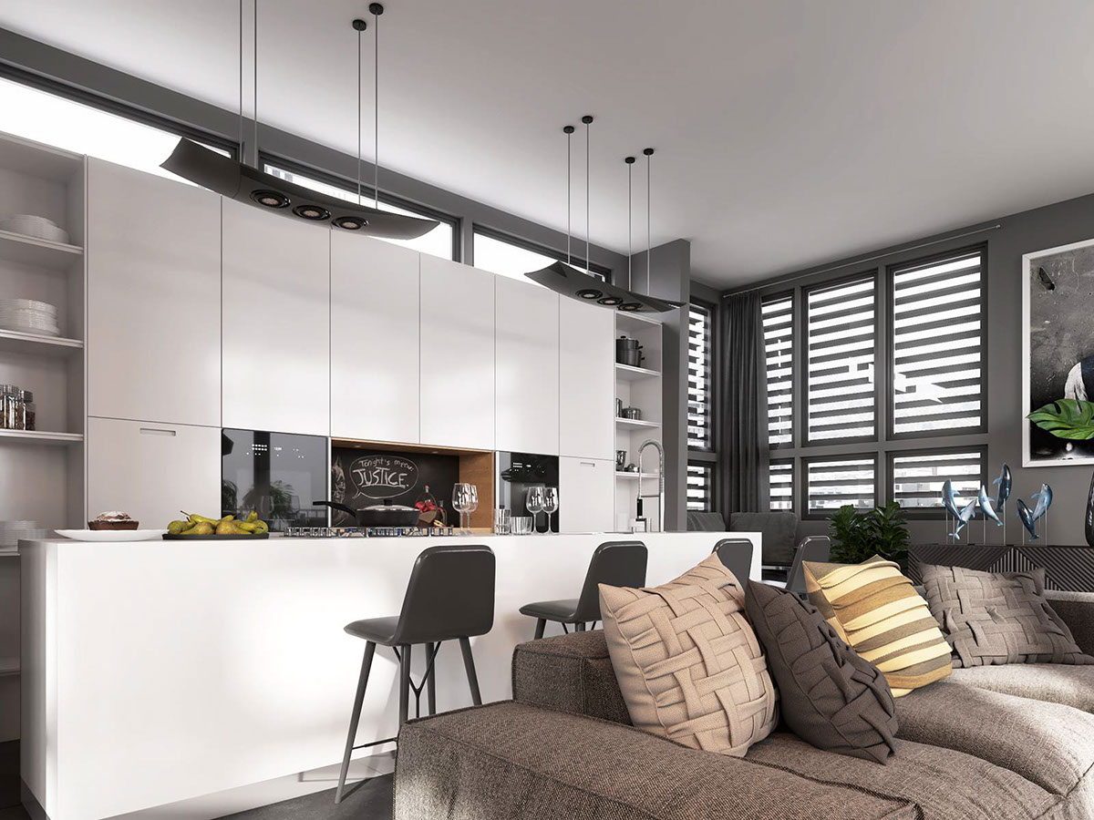 Separating Open Layout Spaces By Color - 4 dark living rooms with strong personality