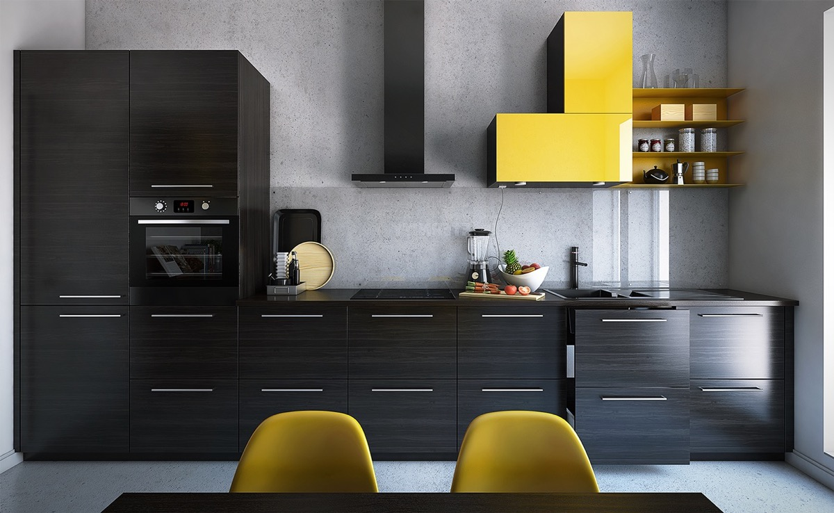 22 yellow accent kitchens that really shine for Modern yellow kitchen cabinets