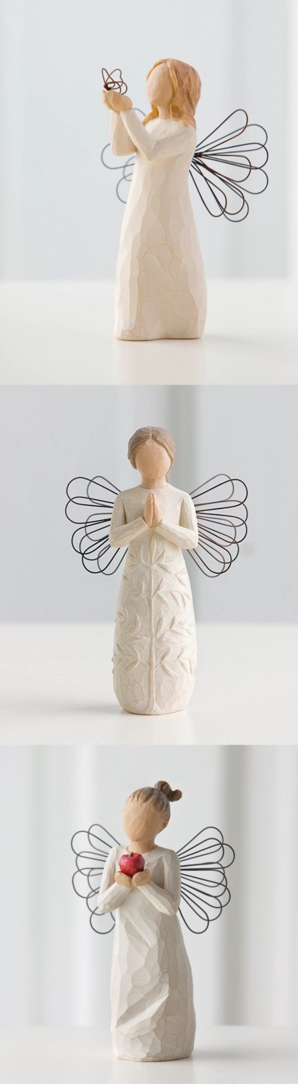 Willow Tree Angels: Designed by artist Susan Lordi, each of these angels represent a special moment in time. Find your own meaning in these beautiful wood and wire creations. Click on the image for dozens of more designs.