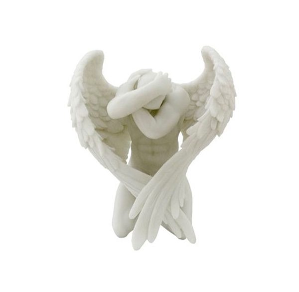 Kneeling Male Angel: An angel of compassion is an angel every household needs. Perfect atop high, flat surfaces, this angel brings humility and grace to any home.