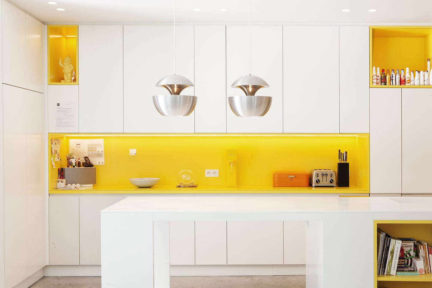 White Kitchen Orange Accents 22 yellow accent kitchens that really shine