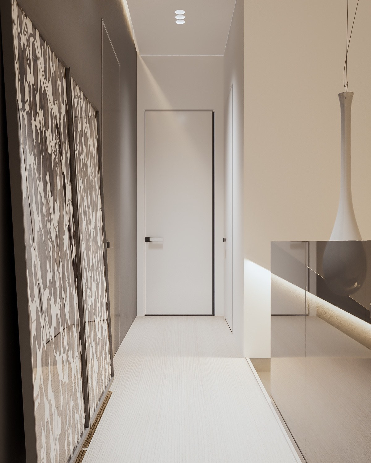 White Plywood Flooring In Modern Home Design - A minimalist family home with a bright bedroom for the kids