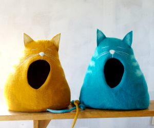 Cat Shaped Cat Caves: A cat within a cat is a sight to behold. These turquoise and mustard designs are a design feature within a practical solution.