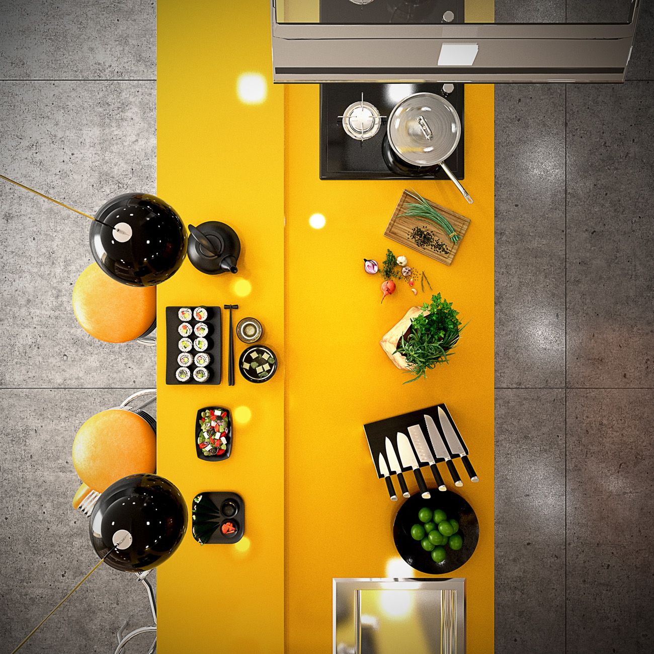 Yellow And Black Kitchen - 22 yellow accent kitchens that really shine
