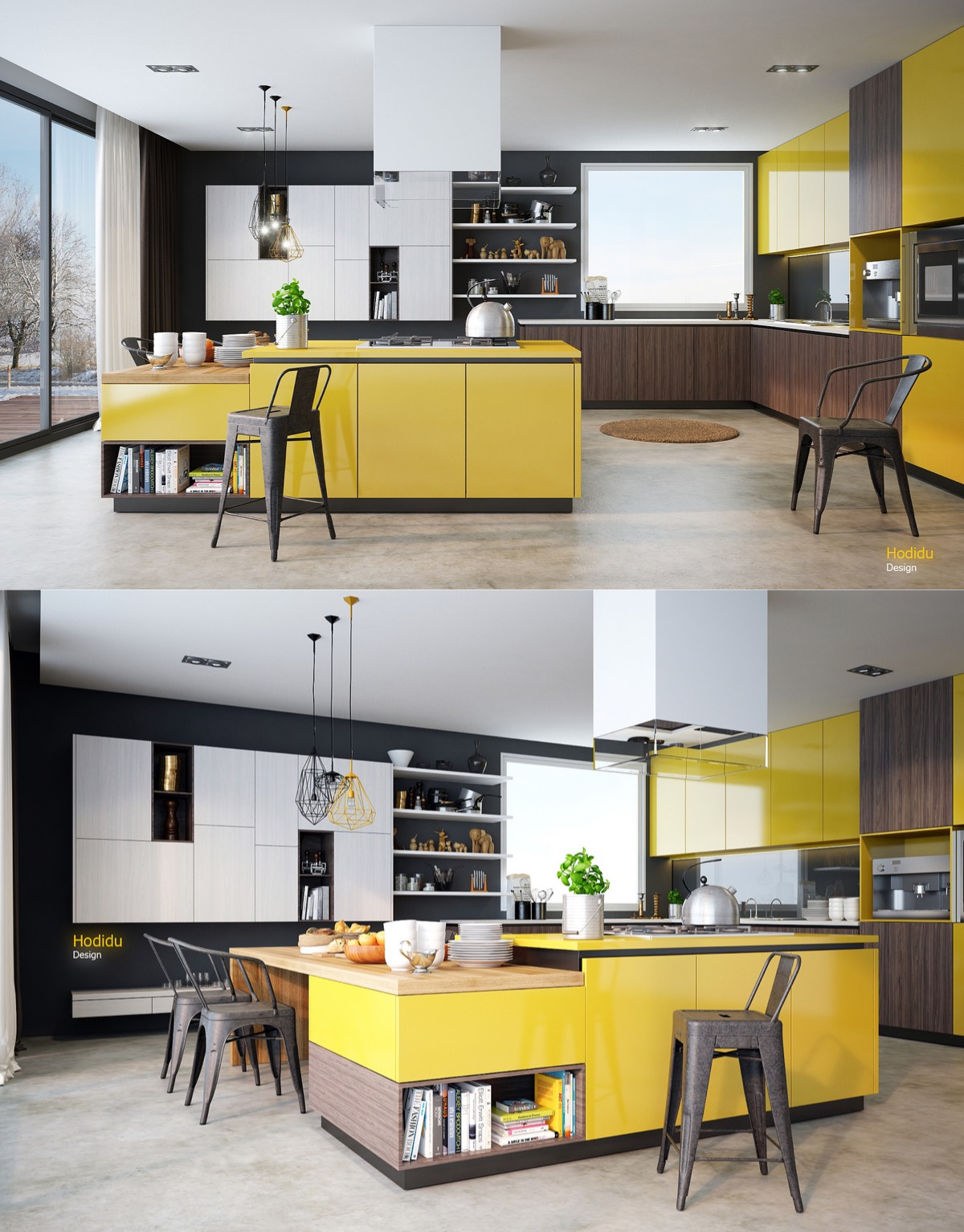 Kitchen With Yellow Walls Trendy Kitchen Yellow Wall Themes And - Light grey kitchen cabinets with yellow walls