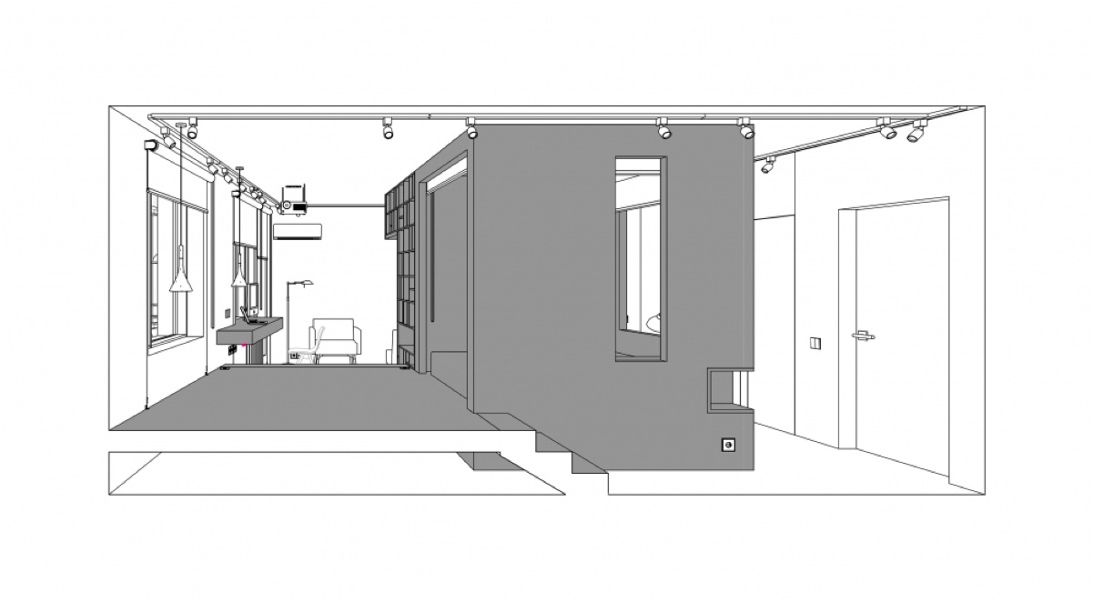 D Visualisation Drawing White And Grey Bedroom Hallway House Under Sqm - Super small studio apartment under 50 square meters includes floor plan