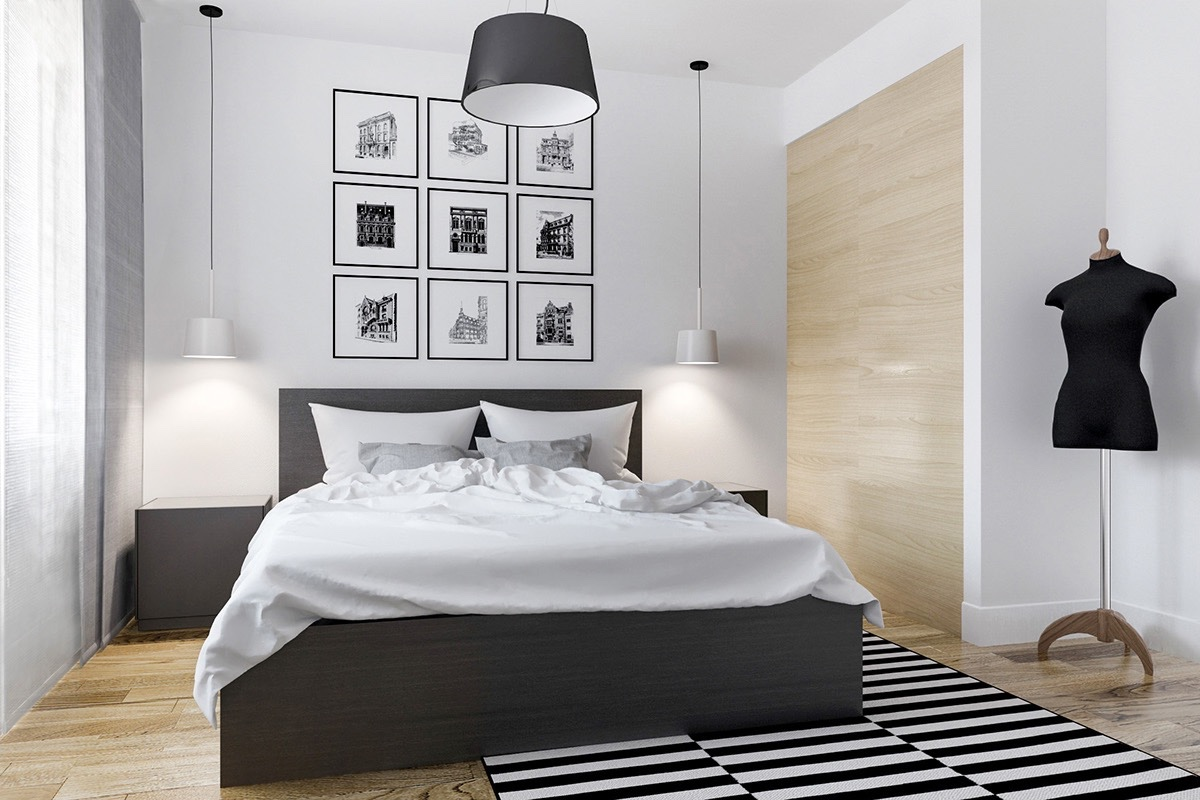 Black and white master bedroom shows the stretch of the for Bedroom designs white