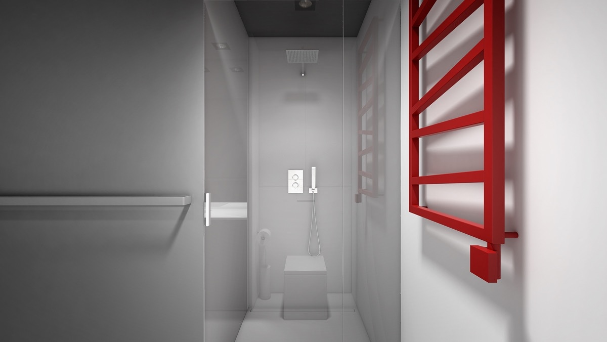 All white bathroom with red heated towel rack red feature bathroom minimalistic