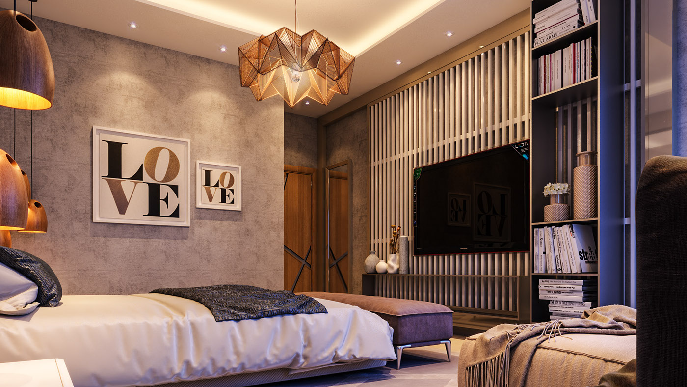 bold bedroom Impove Your Luxirous Sleeptime With Bold Bedroom Spaces Amber glamorous bedroom rustic door with iron handle origami amber light tones of brown beige and stone