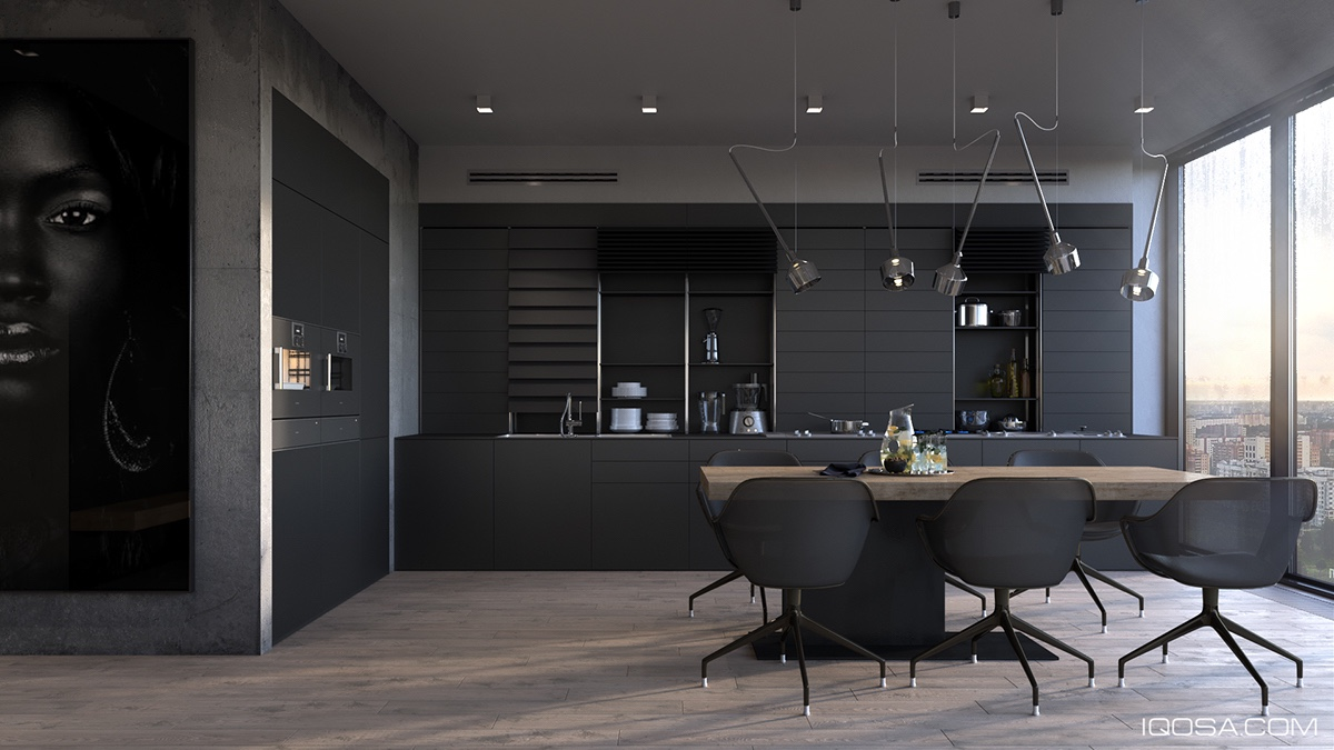 Bachelor Kitchen All Black Cabinetry Minimal Wooden Dining Table Black Sleek Chairs - 36 stunning black kitchens that tempt you to go dark for your next remodel
