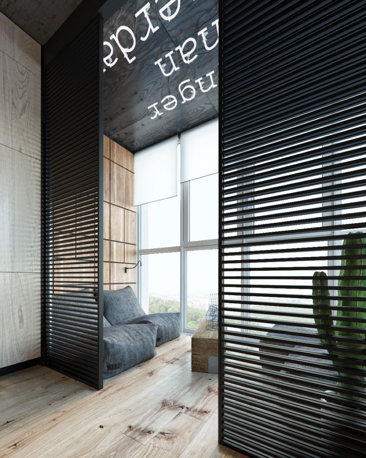 Bachelor Pad Black Slat Grating Wooden Floors Grey Beanbag Couches - Find greyspiration in 3 sophisticated modern grey spaces