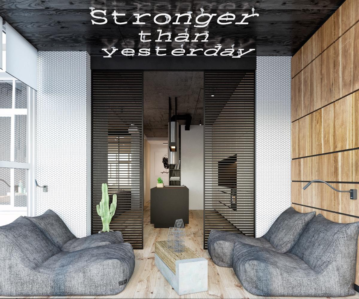 Bachelor Pad Chill Space Ceiling LED Writing Grey Beanbag Chairs - Find greyspiration in 3 sophisticated modern grey spaces