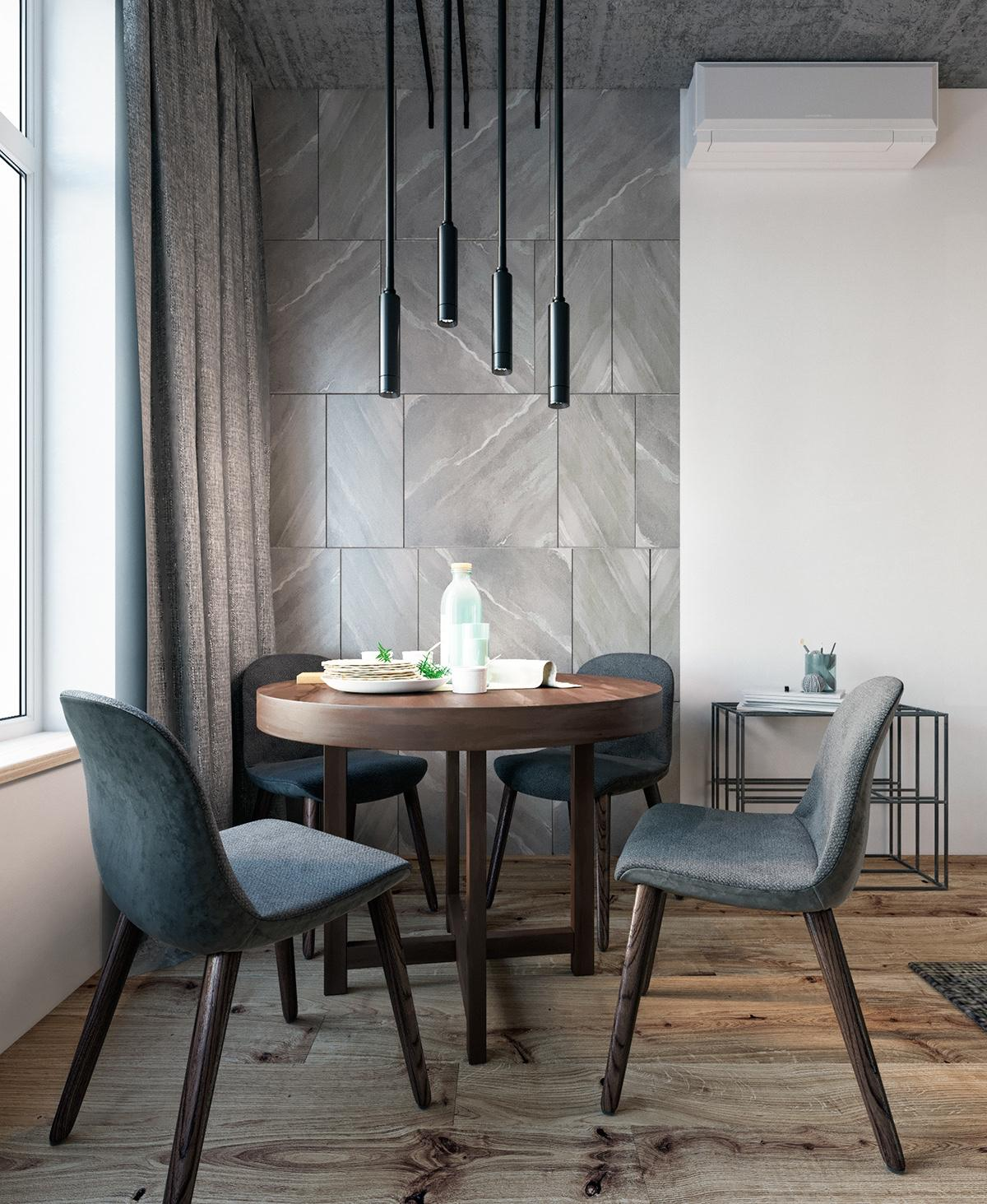 Bachelor Pad Dining Area Grey Tiled Feature Wall Low Hanging Lights Teal Velvet Chairs - Find greyspiration in 3 sophisticated modern grey spaces