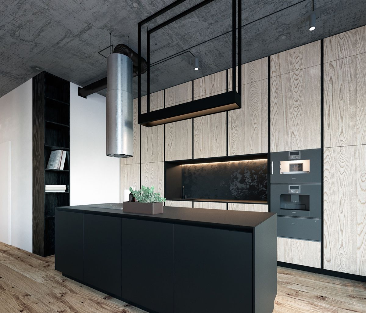 Bachelor Pad Kitchen Long Metal Cylindrical Fan Wide Wooden Kitchen Cabinetry - Find greyspiration in 3 sophisticated modern grey spaces