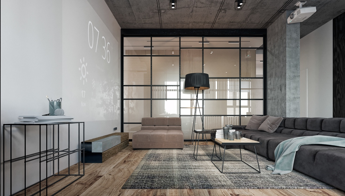 Bachelor Pad Living Room Iron Framed Windows Large Projector Screen Grey Quilted Couches - Find greyspiration in 3 sophisticated modern grey spaces